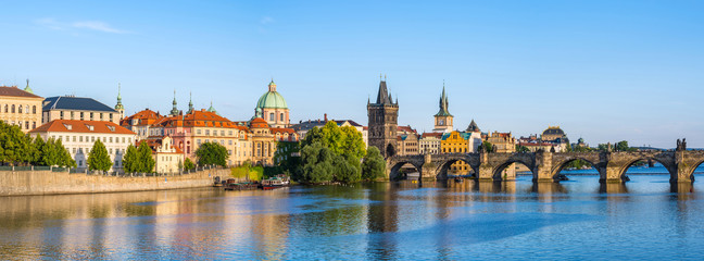 Photo sur Aluminium Prague Panorama of Prague city skyline, Czech Republic