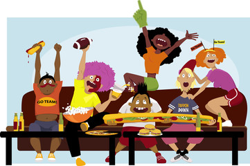 Diverse group of friends watching a football game on TV, cheering, eating and drinking, vector illustration, no transparencies, EPS 8