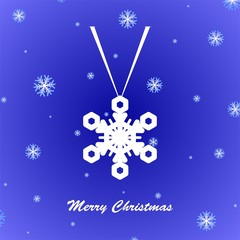 Blue Christmas greeting with suspended white snowflakes and snow fall