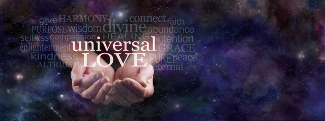 Sharing Universal Love  -  Man's cupped hands emerging from dark blue deep space background surrounded by a Universal Love word cloud with copy space on right hand side