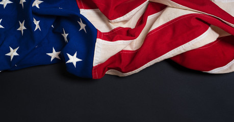 Vintage American Flag on black with copy space