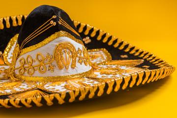 A festive black mexican mariachi sombrero