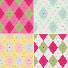 Colorful argyle seamless pattern fabric texture
