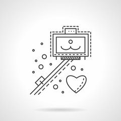 Selfie stick line vector icon