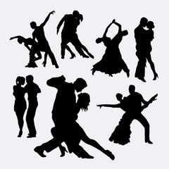 Tango couple dancer silhouettes