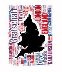 Karte von England mit Begriffen