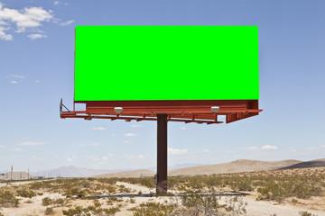 Blank Desert Billboard with Chroma Key Green