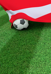 Soccer ball and national flag of Austria,  green grass