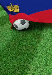 Soccer ball and national flag of Lichtenstein,  green grass