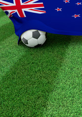 Soccer ball and national flag of New Zealand,  green grass