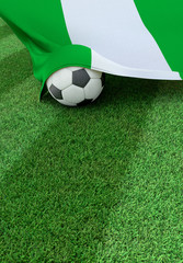 Soccer ball and national flag of Nigeria,  green grass