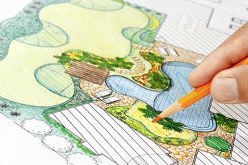 Papiers peints Blanc Landscape architect design backyard plan for villa