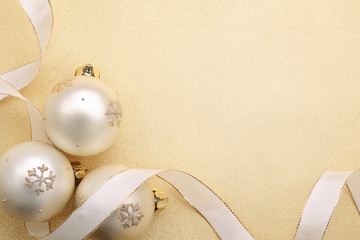 Wall Mural - Christmas balls with ribbon