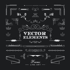 Set of vintage retro linear thin line art deco design elements g