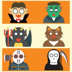 Cute Halloween Monsters Flat Cartoon Design