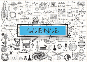 Science doodles on white grid paper background with light blue transparent frame.