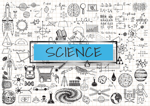 Science doodles on white grid paper background with light blue ...