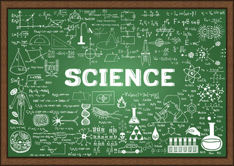 Hand drawn science on chalkboard