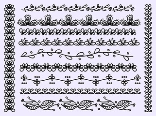 Set of scalloped floral vector borders isolated
