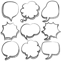 Sketchy Speech Bubbles Set : Vector Illustration