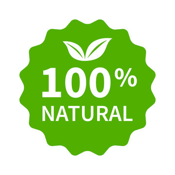 100% all natural stamp, label, sticker or stick flat icon for products and websites