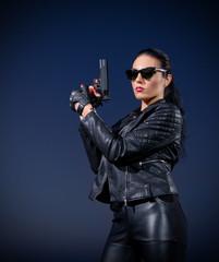 Gangster woman with gun