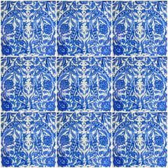Fotomurales - ornamental oriental background. Blue ceramic tile Turkish