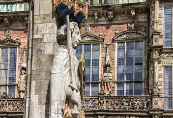 Bremen. Knight Roland statue on Marktplatz. Town hall, Germany.