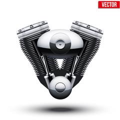 retro motorcycle engine. Vector Illustration.