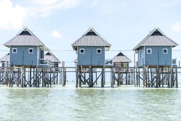 Bungalows on Mabul Island, Sabah, East Malaysia.