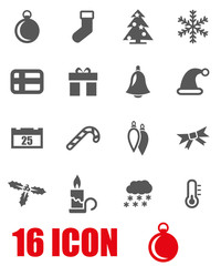 Vector grey christmas icon set