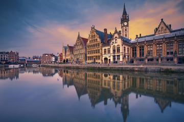 Ghent. Image of Ghent, Belgium during dramatic twilight.
