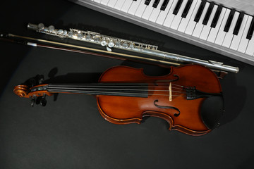 Musical instruments on dark background