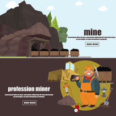 miner working in a mine. professional miner. coal mine. vector illustration. banners.
