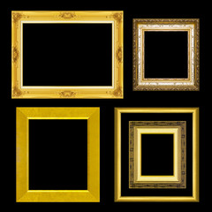 set antique frame isolated on black background