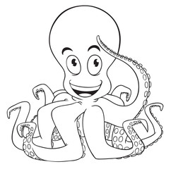 Cute cartoon octopus isolated on a white background