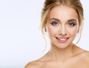 Portrait of beautiful woman on white background