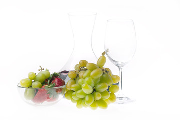 Wine and fruits isolated