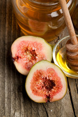 Ripe Fig Fruits with honey