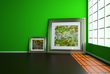 Plinths parquet and two uneven wall on which hang colorful paintings. 3d illustration Interior.