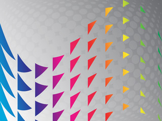 Abstract triangles rainbow shape background