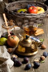 Tea and fruits