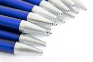 Blue shaft blue ballpoint pens