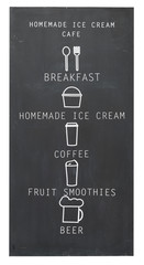 Beverage menu and breakfast on chalk blackboard isolate