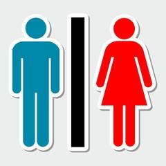 Toilets icon color sticker
