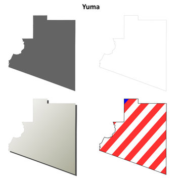 Yuma County (Arizona) outline map set