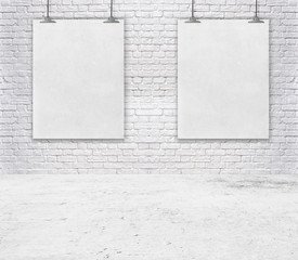 Blank white poster on a rope. brick wall texture use for your add message