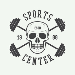 Gym logo, label and or badge vintage style.