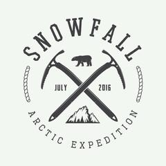Vintage arctic mountaineering logo, badge, emblem.