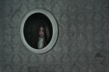 Horror scene of a scary girl
